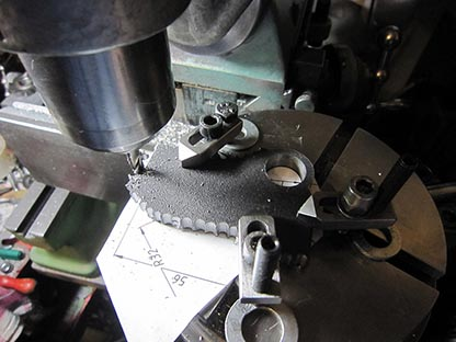 Threading attachment, cutting a lyre from steel